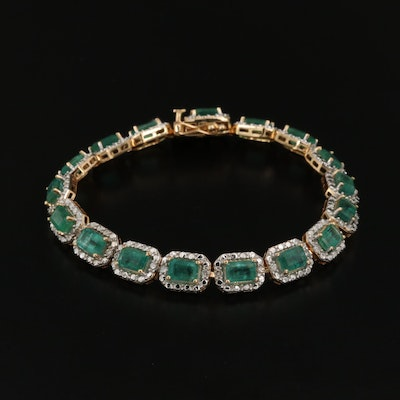 Sterling Emerald and Diamond Halo Bracelet