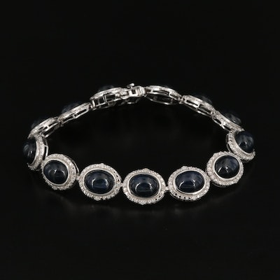 Styerling Silver Sapphire Oval Link Bracelet with Diamond Halo
