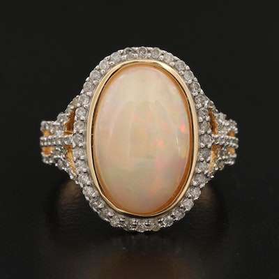 Sterling Opal and Diamond Ring