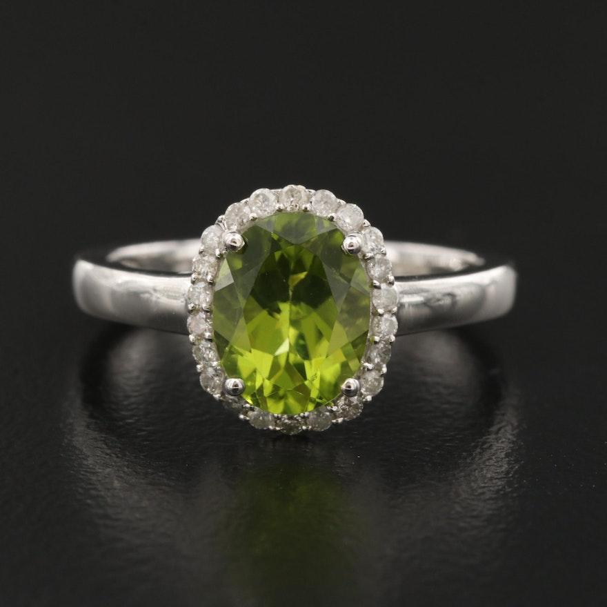 Sterling Peridot and Diamond Halo Ring