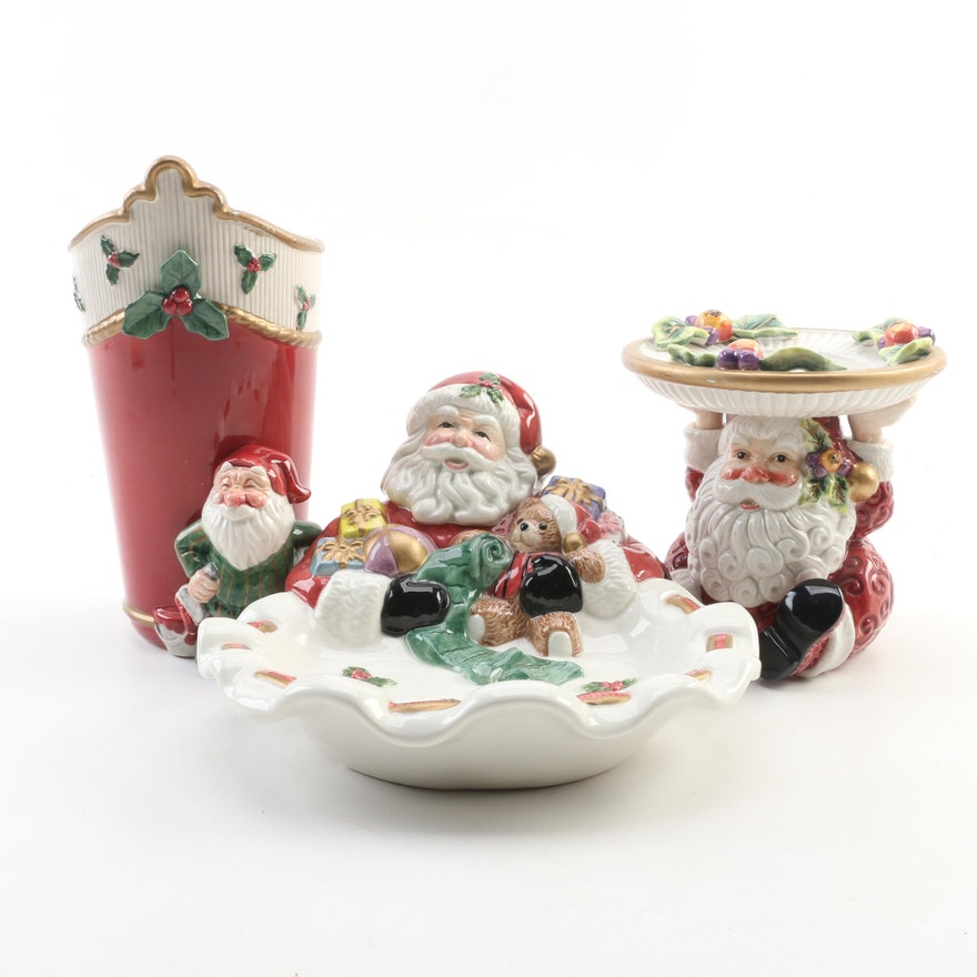 Fitz & Floyd Old World Christmas Ceramic Cookie and Candy Dish with Red Elf Vase