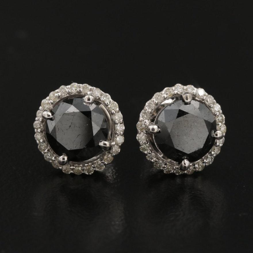 14K 4.00 CTW Black Diamond and Diamond Stud Earrings
