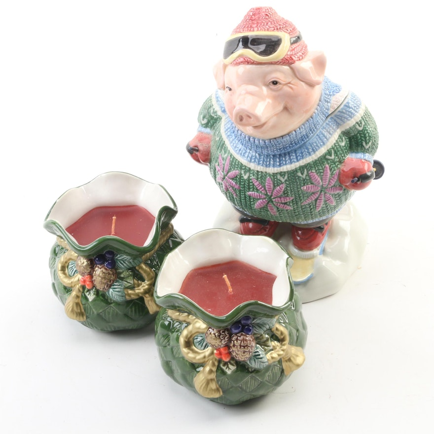 Fitz & Floyd  Home Fragrance Holiday Candles with Ceramic Pig Cookie Jar