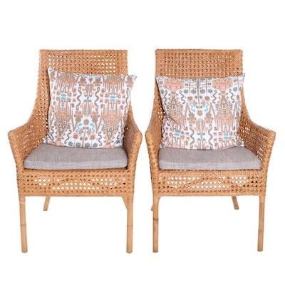 Crate & Barrel Cane Armchairs with Upholstered Seat Cushions and Accent Pillows