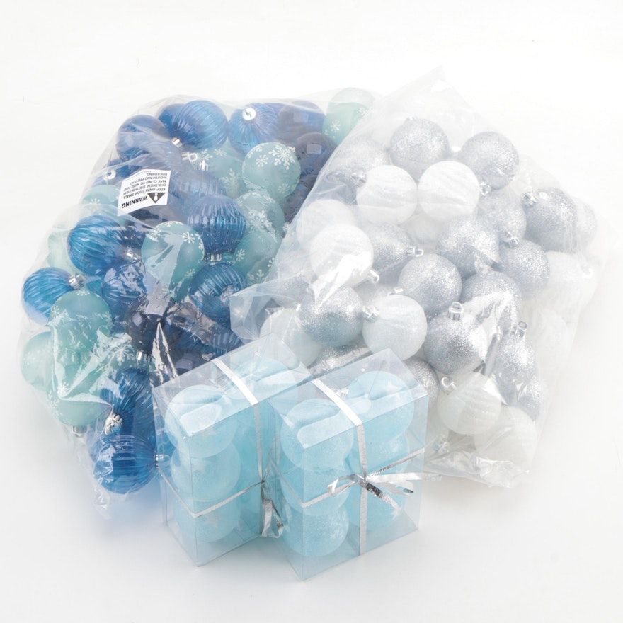 Blue  and White Christmas Ball Ornaments with Glitter Accents, Contemporary