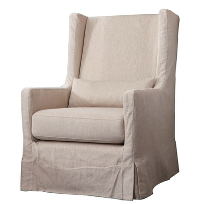 Four Hands Cream Slipcovered Swivel Armchair, Contemporary