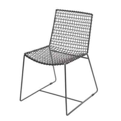 "Crate & Barrel ""Tig"" Metal Chair in Gunmetal Grey"