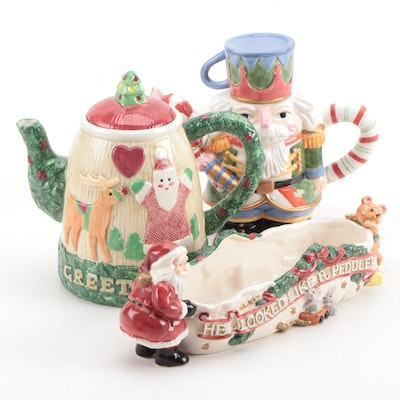 Fitz and Floyd Teapot, Cocoa Pot, Cracker Cradle