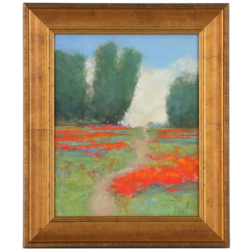 "SJ Studios Landscape Oil Painting ""Poppy Field"", 21st Century"