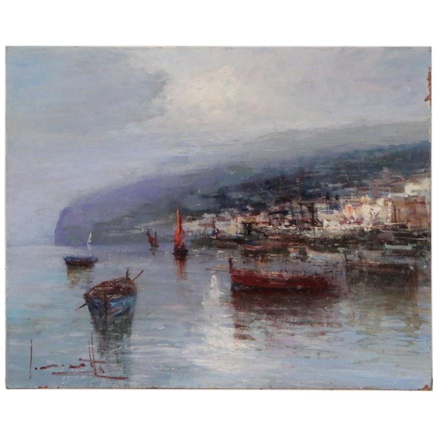 Claudio Simonetti Oil Painting of Harbor Scene
