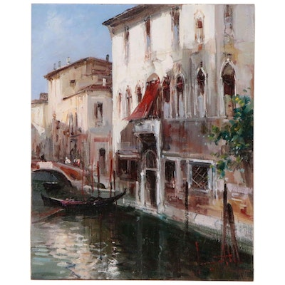 "Claudio Simonetti Oil Painting ""The Red Awning"""
