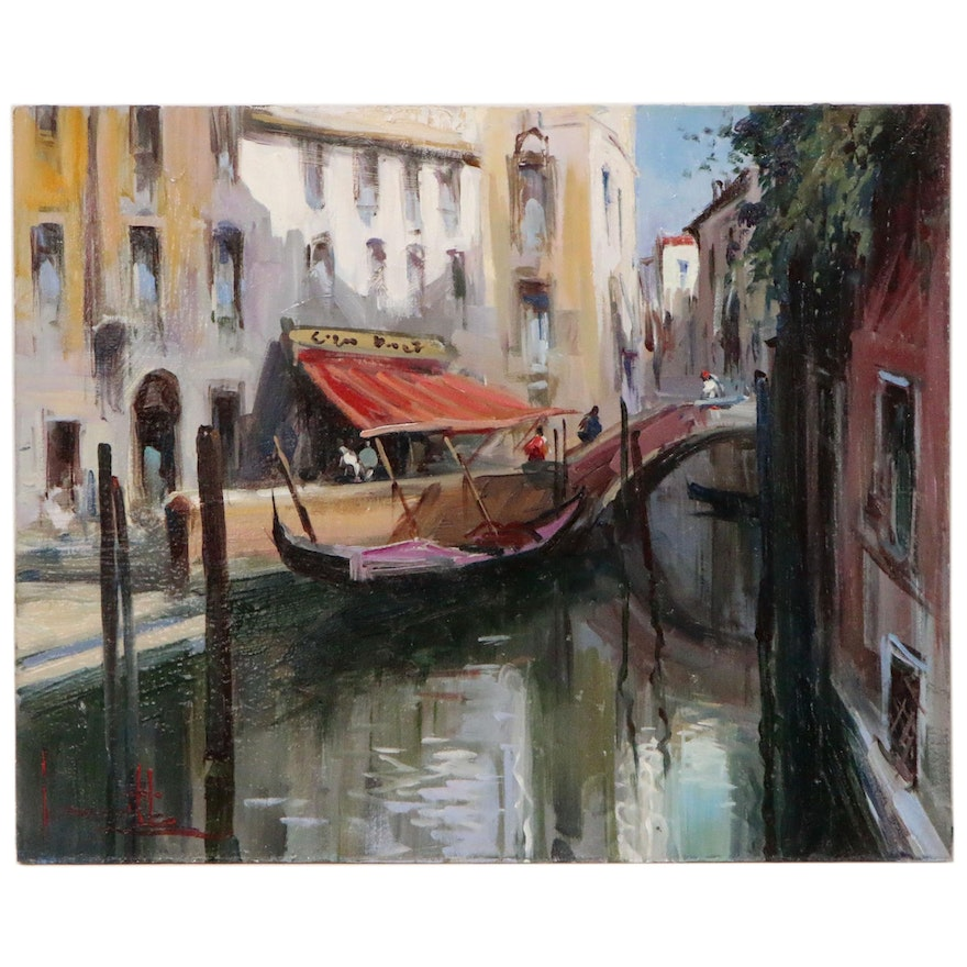 "Claudio Simonetti Oil Painting ""Cafe in Venice"""