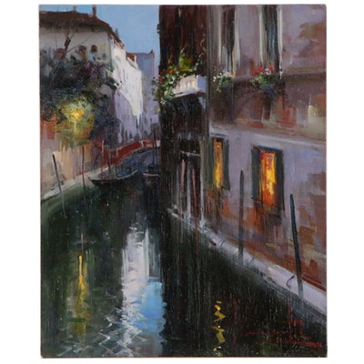 Claudio Simonetti Oil Painting of Venetian Canal Scene