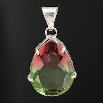 Sterling Silver Multi-Color Glass Teardrop Pendant