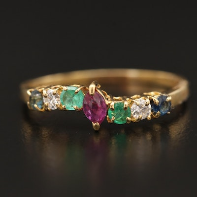 18K Ruby Bypass Ring with Diamond, Sapphire and Emerald Accents