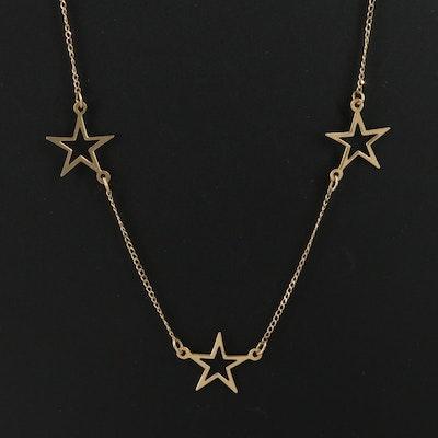 14K Star Station Necklace