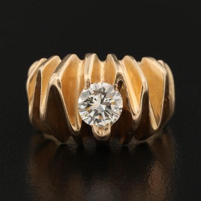 Vintage 14K Diamond Dimensional Geometric Ring