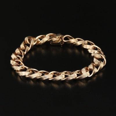 14K Corrugated Curb Link Bracelet