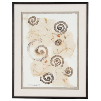 Abstract Mixed Media Painting with Spirals, 1999