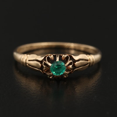 Victorian 14K Ring with Floral Setting