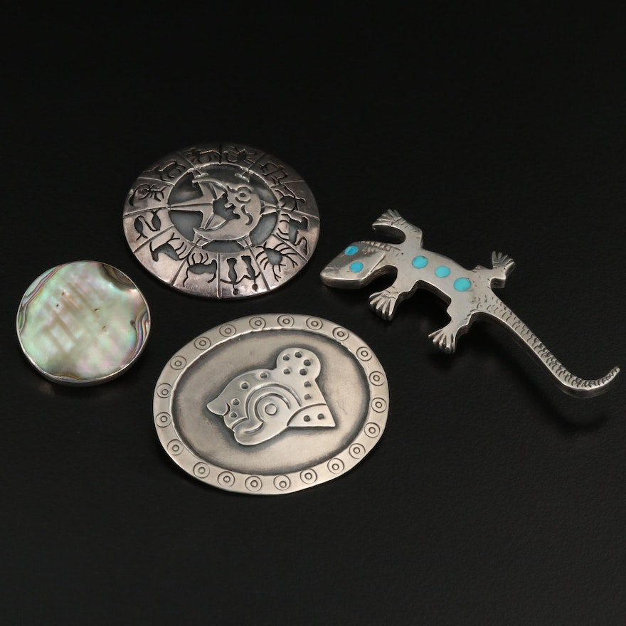 Sterling Brooches Featuring Los Ballesteros, Abalone and Turquoise