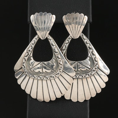 Southwestern Sterling Silver Dangle Earrings with Stampwork