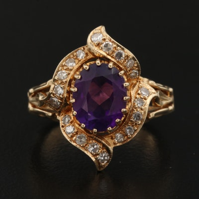 14K Amethyst and Diamond Ring with Scrollwork Shoulders