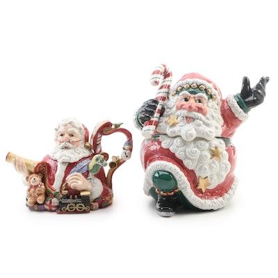 "Fitz and Floyd ""Snow Business"" Cookie Jar, Santa's List Teapot and Lid"