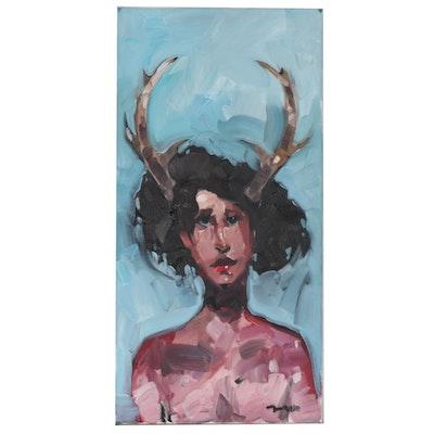 "Jose Trujillo Oil Painting ""Mythical Magic"", 2020"