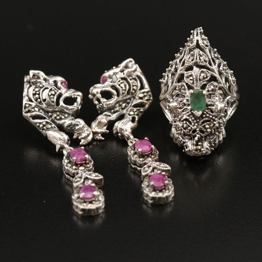 Sterling Emerald, Ruby and Marcasite Feline Motif Ring and Dangle Earrings