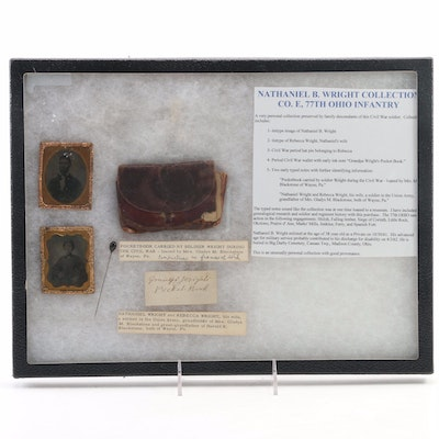 Nathaniel B. Wright Co.E. 77th Ohio Infantry Tintype and Pocketbook, Mid-19th C.