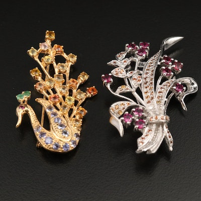 Sterling Silver Swan and Bouquet Brooches Featuring Garnet and Gemstone Accents