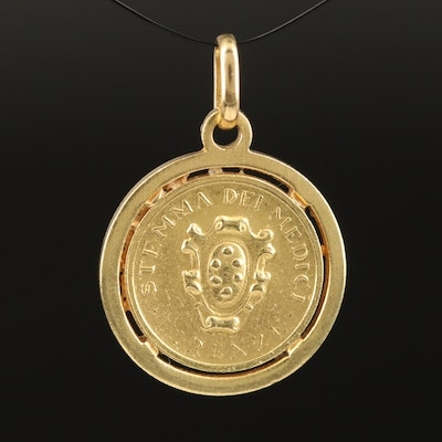18K Pendant with Florence Italy Gold Medal