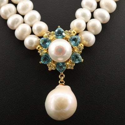 Sterling Silver Pearl, Blue and White Topaz Double Strand Necklace
