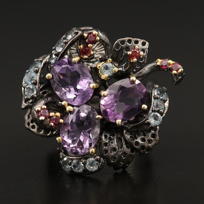 Sterling Silver Amethyst, Garnet and Blue Topaz Foliate Ring