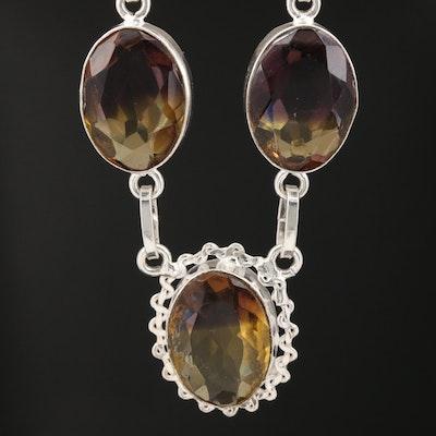 Sterling Silver Glass Station Necklace