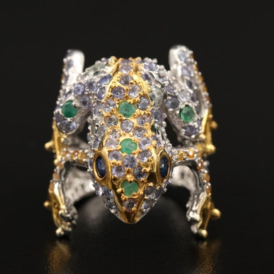 Sterling Silver Sapphire, Emerald and Tanzanite Frog Ring