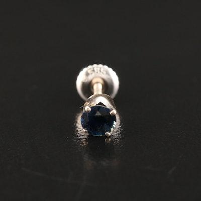 18K Sapphire Single Stud Earring