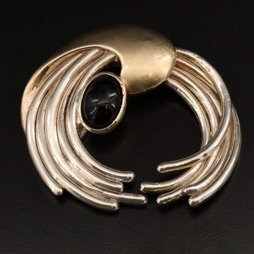 1980s Postmodern Sterling Silver Abstract Electroform Converter Brooch