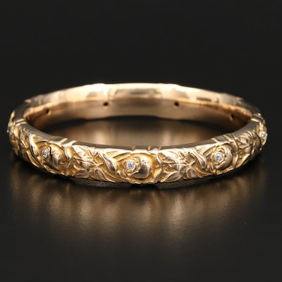 14K Empossed Foliate Diamond Bangle