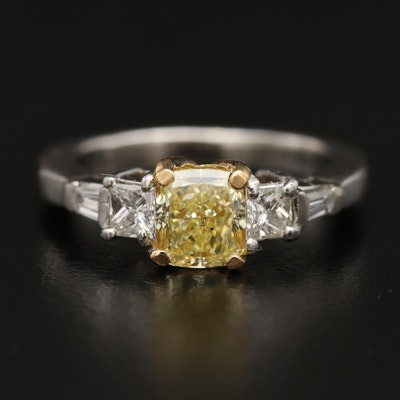 Platinum and 14K 1.36 CTW Diamond Ring with GIA Report