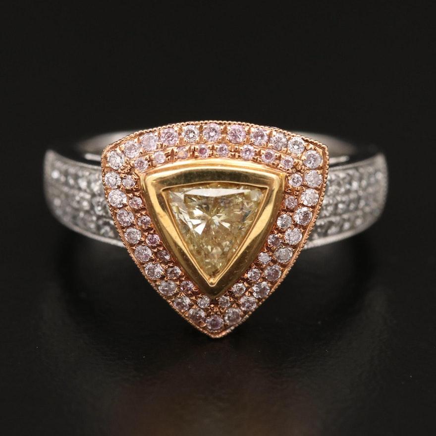 18K Tri-Color Gold 1.42 CTW Diamond Triangular Ring