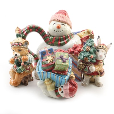 "Fitz and Floyd ""Frosty Folks"" Candy Box, Teapot, Christmas Lodge Salt and Pepper"