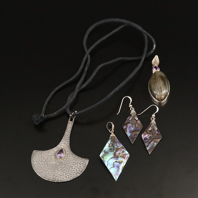 Sterling Silver Jewelry Selection with Abalone, Labradorite and Pearl Accents