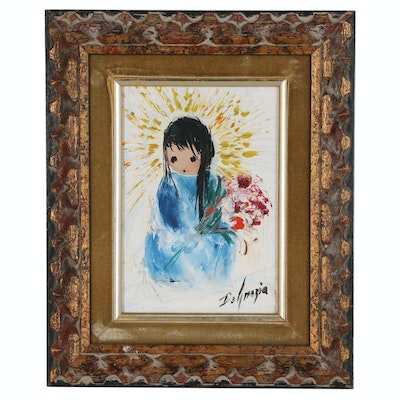 """Ted DeGrazia Oil Painting """"Flowers for You"""", 1965"""