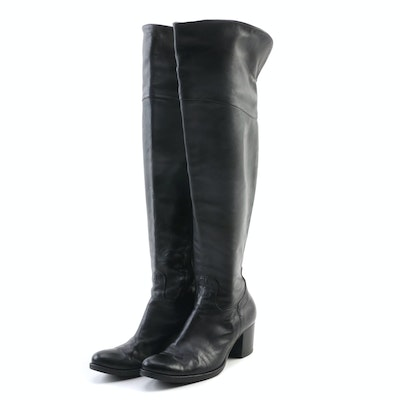 Progetto Black Leather Over-the-Knee Boots