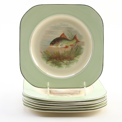 Wood & Sons Ltd. Fish Motif Earthenware Salad Plates, Early to Mid 20th Century