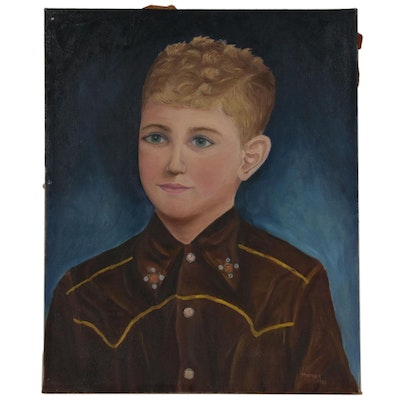 Folk Art Style Portrait Oil Painting of a Boy in Western Wear, 1953