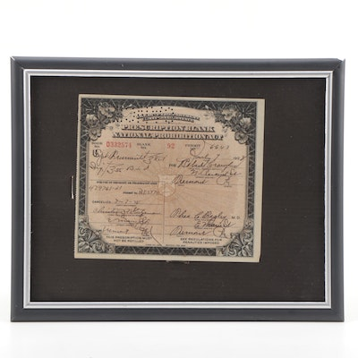 Framed National Prohibition Act Prescription Form for Medicinal Liquor, 1928