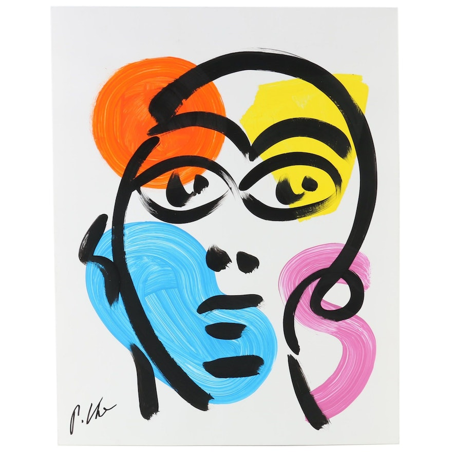 Peter Keil Acrylic Painting of Abstract Portrait